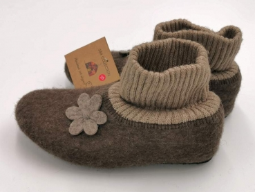 100% Sheep Wool Felt Slippers with Gaiter for Ladies and Children